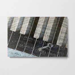 Piano Keys black and white - music notes Metal Print