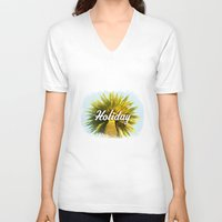holiday V-neck T-shirts featuring Holiday by husavendaczek