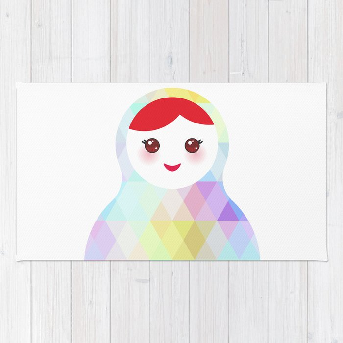 Russian Doll Matryoshka With Bright Rhombus On White Background Rainbow Pastel Colors Rug
