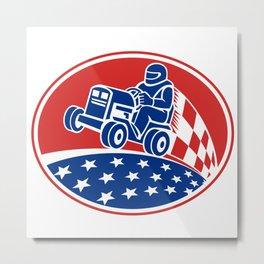 Ride On Lawn Mower Racing Retro Metal Print