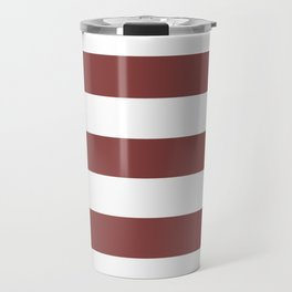 Brandy - solid color - white stripes pattern Travel Mug
