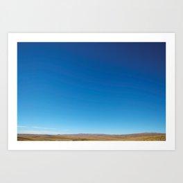 Blue sky and dry hills, Old Dunstan Road. Art Print