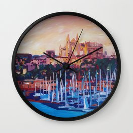Spain Balearic Island Palma de Majorca with Harbour and Cathedral Wall Clock