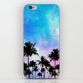 Galaxy and coconut trees iPhone Skin