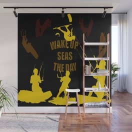 Wake Up Seas The Day Kiteboarder Brown and Yellow Wall Mural