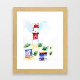 Borkum Lighthouse whimsical watercolor painting Framed Art Print