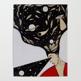 Space lady In Red Poster