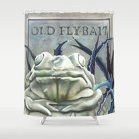 "haunted mansion Shower Curtains featuring Disneyland Haunted Mansion inspired ""Old FlyBait""  by ArtisticAtrocities"