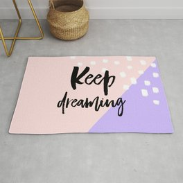 Keep Dreaming - Soft peach and purple abstract - typography Rug