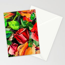 Green Rose Chafer Beetles Amidst the Garden Stationery Cards