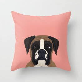 Boxer dog art print cute dog breed customizable pet portrait animal man's best friend dog person  Throw Pillow