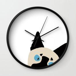 Peeking Siamese Wall Clock
