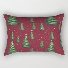 Christmas trees in starry snowfall Rectangular Pillow