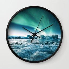 aurora borealis at jakursarlon Wall Clock