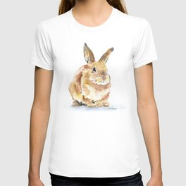 Bunny Rabbit Watercolor Painting - Woodland Animal Art T-shirt