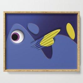 Blue ornamental fish cartoons Serving Tray