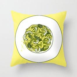 Pasta with shrimps Throw Pillow
