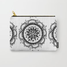 Black and White Floral Rose Mandala Textile Carry-All Pouch