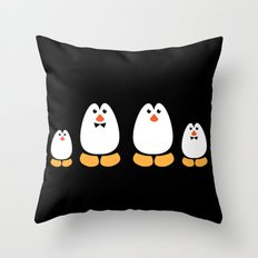 NGWINI - penguin family black Throw Pillow