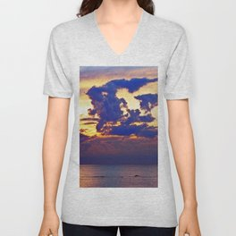 Abstract Clouds over the Sea - The Running Man Unisex V-Neck