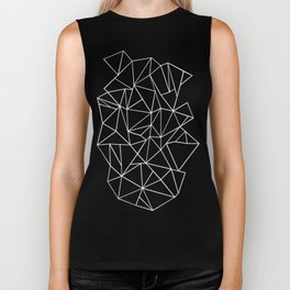 Abstraction Outline Black and White Biker Tank