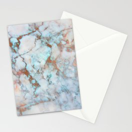 Rose Marble with Rose Gold Veins and Blue-Green Tones Stationery Cards