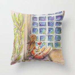 Snow night watercolor. Wall art illustration Throw Pillow