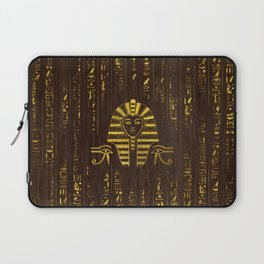 Golden Egyptian Sphinx and hieroglyphics on wood Laptop Sleeve