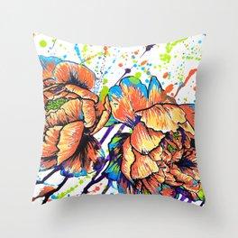 Saturday Morning Flowers Throw Pillow