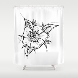 Flower Handmade Drawing, Made in pencil and ink, Tattoo Sketch, Tattoo Flash, Blackwork Shower Curtain