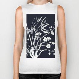bamboo and plum flower white on black Biker Tank