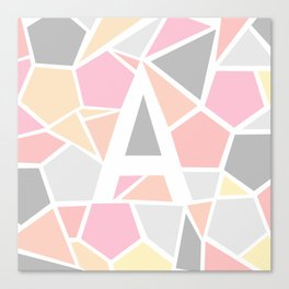 Letter A Geometric Shapes in Warm Colors Canvas Print
