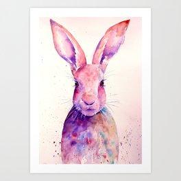 Watercolor Abstract Rabbit Hare blue purple Art Print