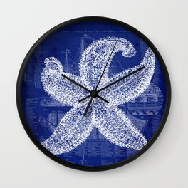 Vintage Starfish Blueprint Wall Clock