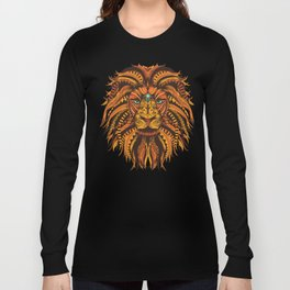 Angry Lion Face texture Long Sleeve T-shirt