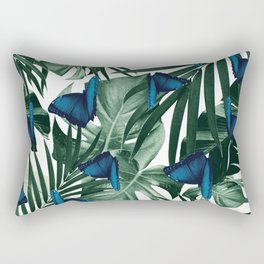 Tropical Butterfly Jungle Leaves Pattern #1 #tropical #decor #art #society6 Rectangular Pillow