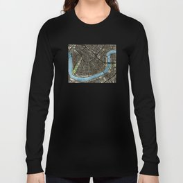New Orleans City Map Long Sleeve T-shirt