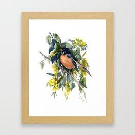 American Robin on Linden Tree, Deep blue Cottage Woodland style design Framed Art Print