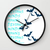 bats Wall Clocks featuring Bats by Young Devious Minds