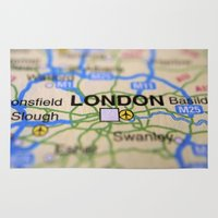 london map Area & Throw Rugs featuring London Map by Brian Raggatt