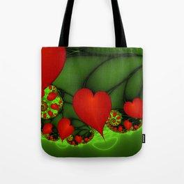 Dancing Red Hearts Fractal Art Tote Bag