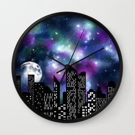 Starry Skyline Neck Gator Skyline Moon Wall Clock