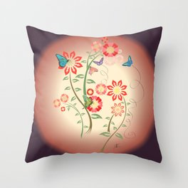 butterfly and flowers Throw Pillow