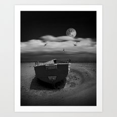 Row Boat on a Sandy Beach in Biscayne Bay Florida Art Print
