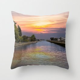 Ballard Locks at Sunrise Throw Pillow