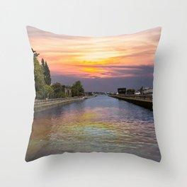 Ballard Locks at Sunrise Throw Pillow