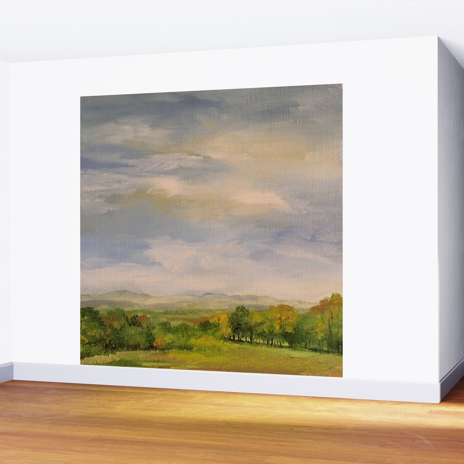 Scenic Autumn Late Afternoon In Vermont Nature Art Landscape Oil Painting Wall Mural
