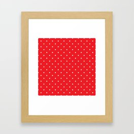 Small White Polka Dots with Red Background Framed Art Print
