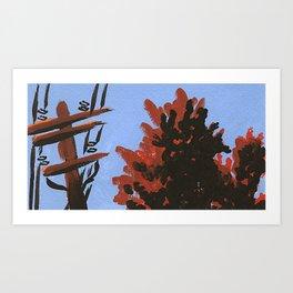 Powerline Trees Art Print