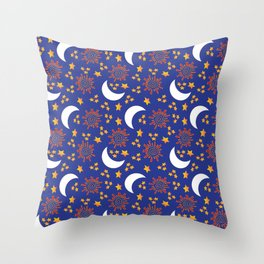 The Sun, Moon and Stars Throw Pillow